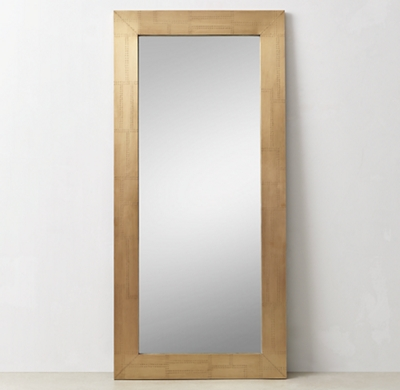 Industrial Metal Wrapped Leaner Mirror Antique Brass