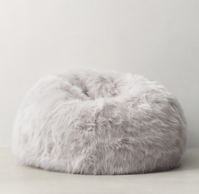 Kashmir Faux Fur Bean Bag White