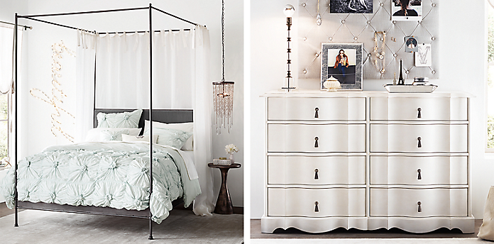 Teen Canopy Bed caleigh iron canopy bedroom | rh teen