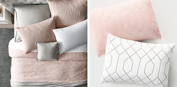 Completely new Embroidered Metallic Geo Bedding Collection | RH TEEN PT08