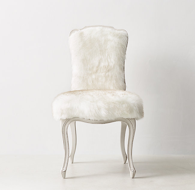 white faux fur chair Sophie Exotic Faux Fur Desk Chair   Arctic White Mink white faux fur chair