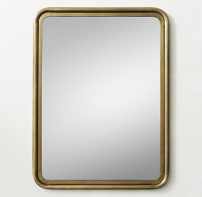 Rounded Edge Metal Trim Dresser Mirror Brass