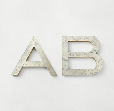 Brass Wrapped Distressed Mirror Letter