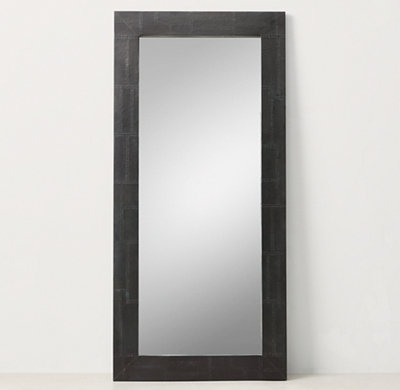 Industrial Metal Wrapped Leaner Mirror Iron