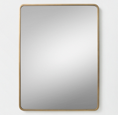Minimalist Metal Wrapped Dresser Mirror Brass