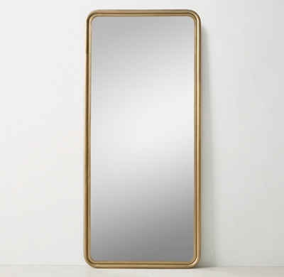 Rounded Edge Metal Trim Leaner Mirror Brass
