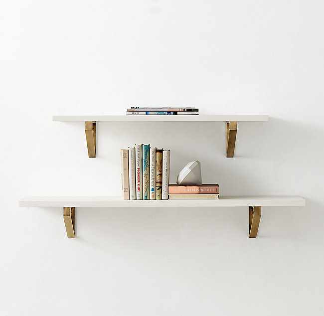 Geometric Metal Bracket Wood Shelf