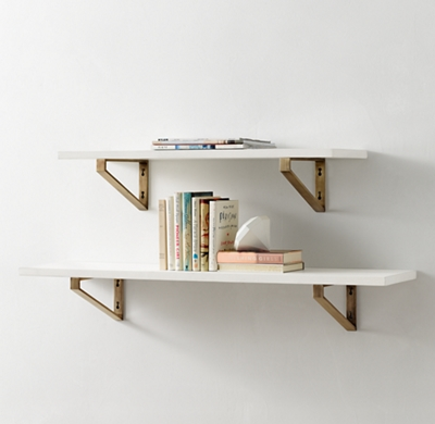Geometric Metal Bracket Wood Shelf   Waxed White