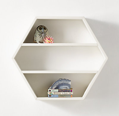 Hexagon Wood Curio Shelf White