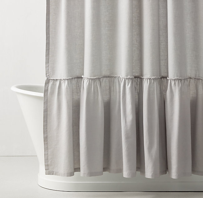 Gathered Ruffle Trim Linen Shower Curtain