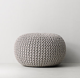 Metallic Knit Cotton Pouf
