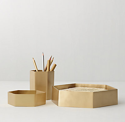 Hexagonal Cast Brass Desk Accessories