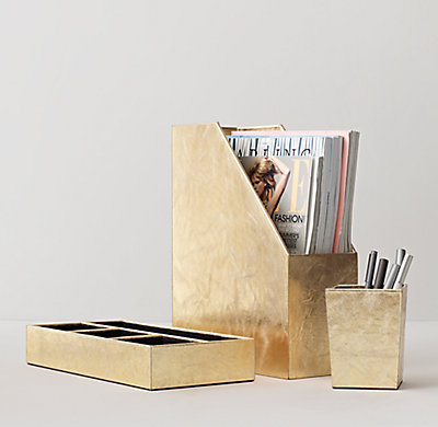 Metallic Leather Desk Accessories Gold