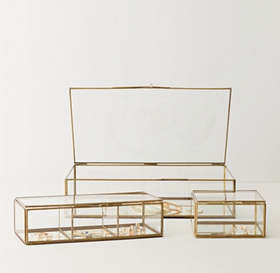Mirrored Glass Jewelry Box Rectangle
