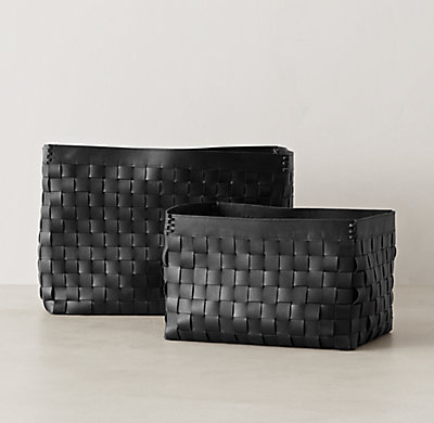 Woven Leather Storage   Black