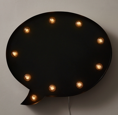 Illuminated Chalkboard Oval Speech Bubble