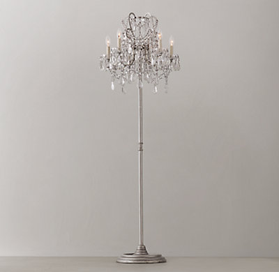 Manor court crystal 5 arm floor lamp antiqued silver aloadofball Gallery