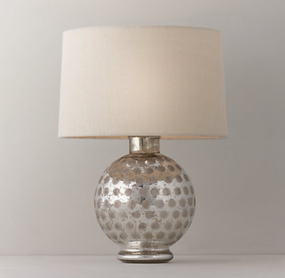 Etched Mercury Glass Round Table Lamp Base