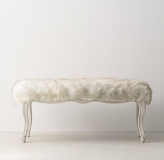 Outstanding Sophie Exotic Faux Fur Bench Arctic White Mink Squirreltailoven Fun Painted Chair Ideas Images Squirreltailovenorg