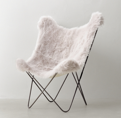 Tye Grey Kashmir Faux Fur Butterfly Chair Dark Steel