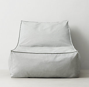 Distressed Canvas Bean Bag Lounger Grey