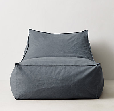 Dimensions - Distressed Canvas Bean Bag Lounger - Blue