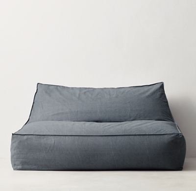Distressed Canvas Wide Bean Bag Lounger - Blue - Distressed Canvas Bean Bag Lounger - Blue