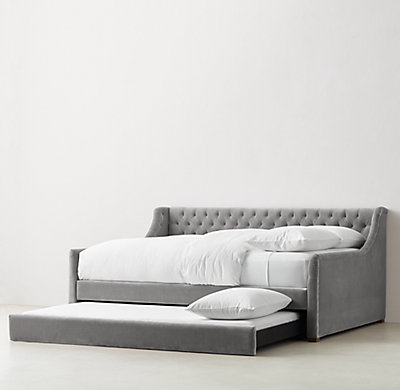 Devyn Tufted Velvet Daybed With Trundle Weathered Oak
