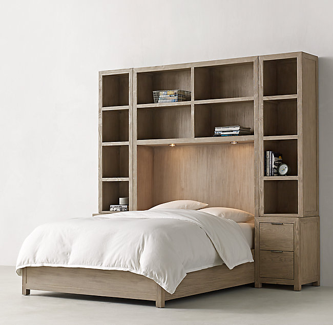 Laguna Bed With Cubby Headboard & Nightstand Towers Set