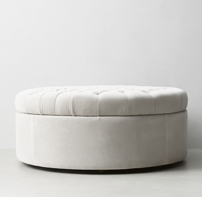 Tufted Large Round Storage Ottoman - Tufted Large Round Leather Storage Ottoman