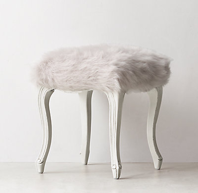 Sophie Kashmir Faux Fur Stool Grey