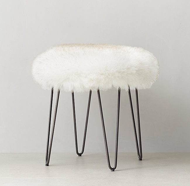Incredible Orly Exotic Faux Fur Stool Arctic White Mink Cjindustries Chair Design For Home Cjindustriesco