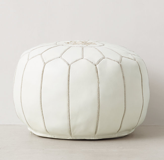 Fantastic Moroccan Leather Round Pouf White Pdpeps Interior Chair Design Pdpepsorg