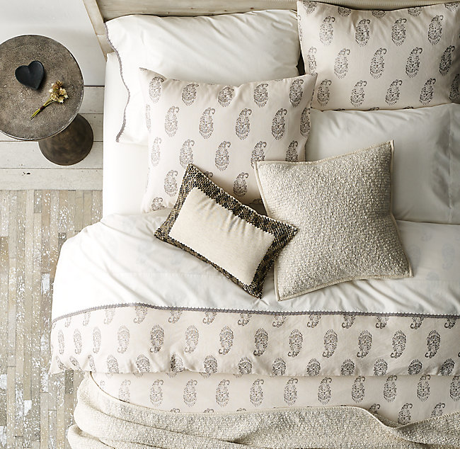 a714dabbfeae Block Print Paisley   Vintage Shimmer Crochet-Trimmed Bedding ...
