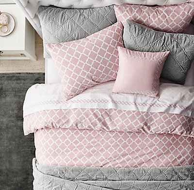 Ogee Lattice Amp Embroidered Ogee Fretwork Bedding Collection