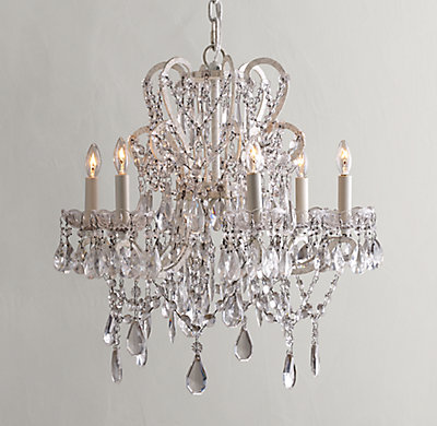 Manor court crystal 6 arm chandelier vintage white