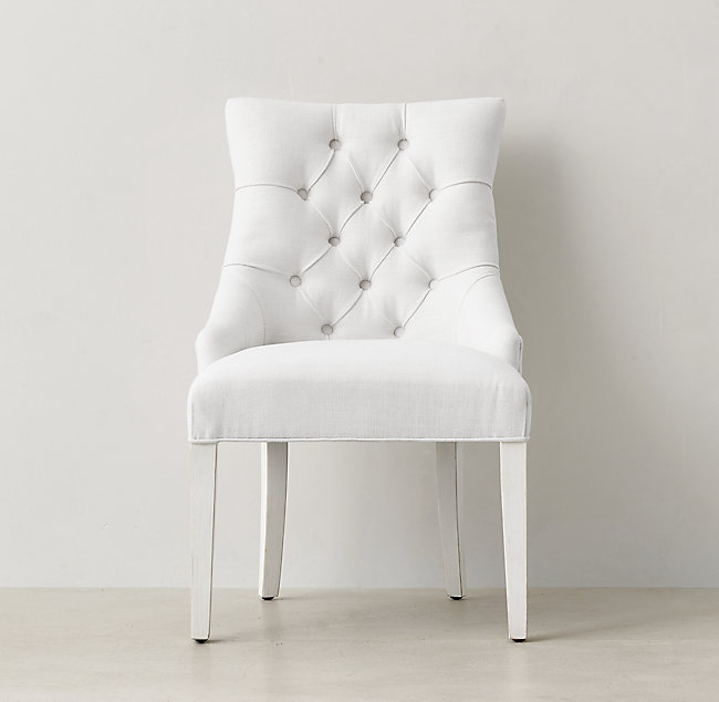 Martine Tufted Desk Chair Distressed White