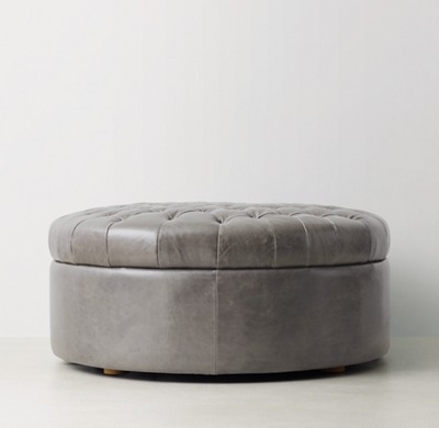 Tufted Large Round Leather Storage Ottoman