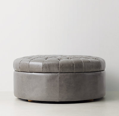 Tufted Large Round Leather Storage Ottoman - Large Round Leather Storage Ottoman
