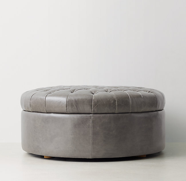 Phenomenal Tufted Large Round Leather Storage Ottoman Forskolin Free Trial Chair Design Images Forskolin Free Trialorg