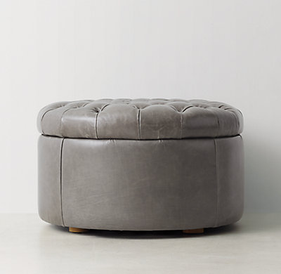 Dimensions - Tufted Round Leather Storage Ottoman