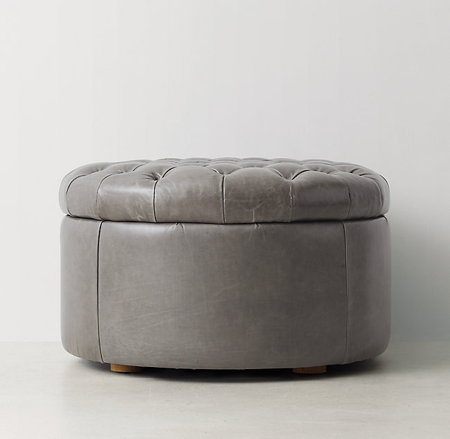 Admirable Tufted Round Leather Storage Ottoman Gmtry Best Dining Table And Chair Ideas Images Gmtryco