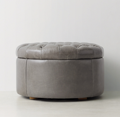 Tufted Round Leather Storage Ottoman - Tufted Round Storage Ottoman - Gray Round  Ottoman Fordupont Living - 36 Round Ottoman Home Hold Design Reference