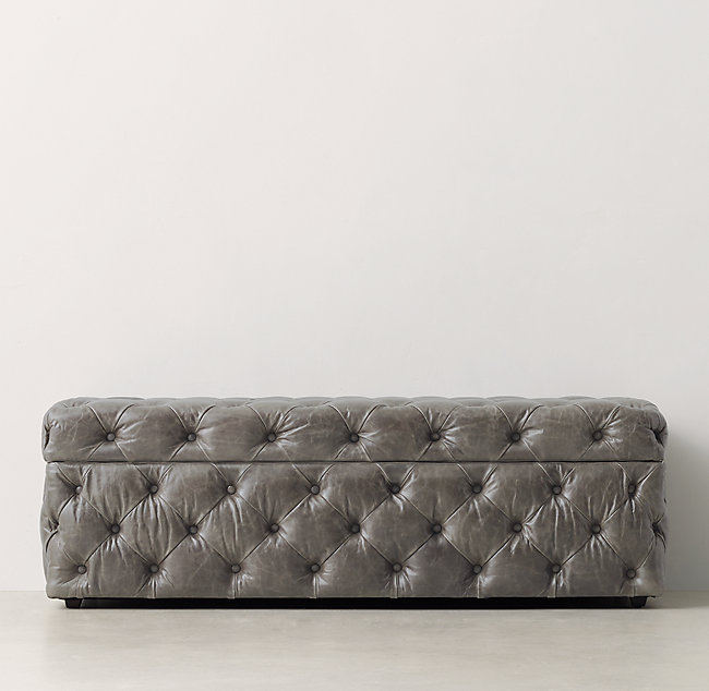 Awesome Simone Tufted Leather Wide Storage Bench Creativecarmelina Interior Chair Design Creativecarmelinacom