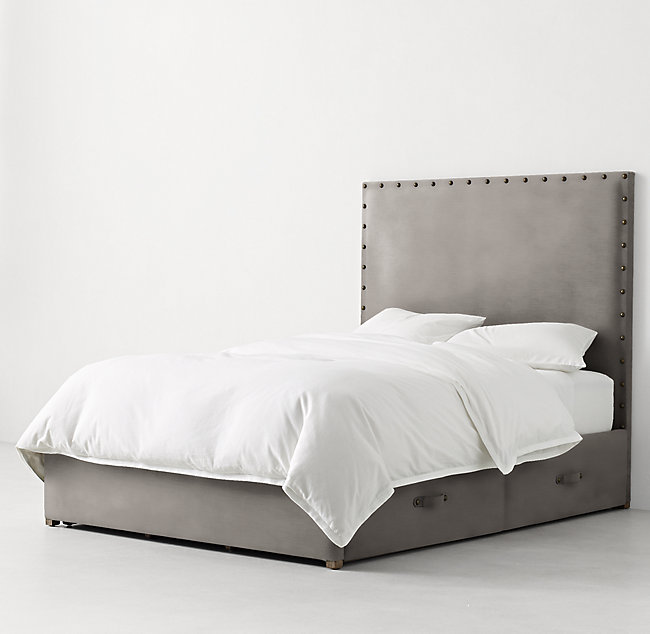 Axel Upholstered Tall Velvet Storage Bed