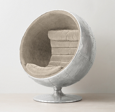 Shown in sand Belgian linen. & Orbit Spitfire Upholstered Chair