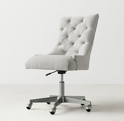 Martine Adjustable Velvet Desk Chair   Pewter