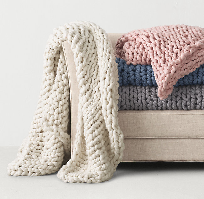 Chunky Hand Knit Bed Throw