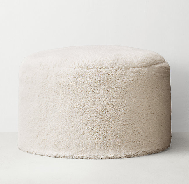 Fantastic Luxe Sherpa Round Pouf Ivory Pdpeps Interior Chair Design Pdpepsorg