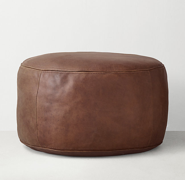 online store 49a9c 2feaa Leather Round Pouf - Dark Brown